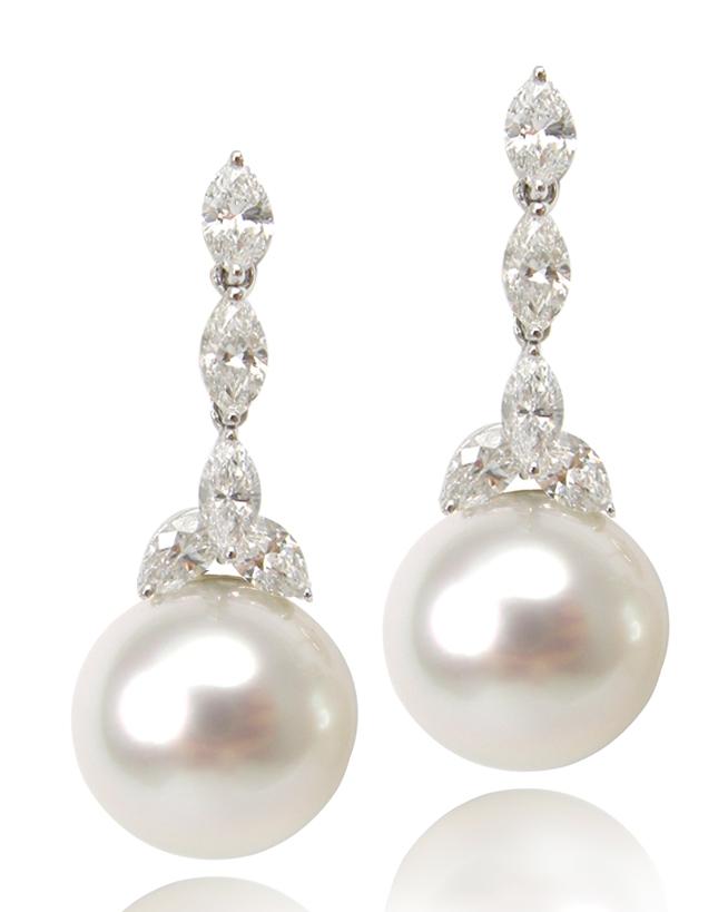 DIAMOND & PEARL EARRINGS CLUSTER DIAMOND PENDANT BESPOKE FINE JEWELLERY BY SHAHINA HATTA