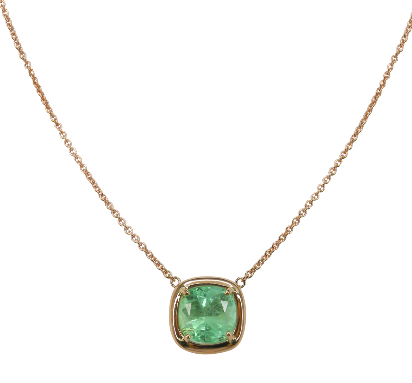 COLOMBIAN EMERALD ROSE GOLD PENDANT BESPOKE FINE JEWELLERY BY SHAHINA HATTA