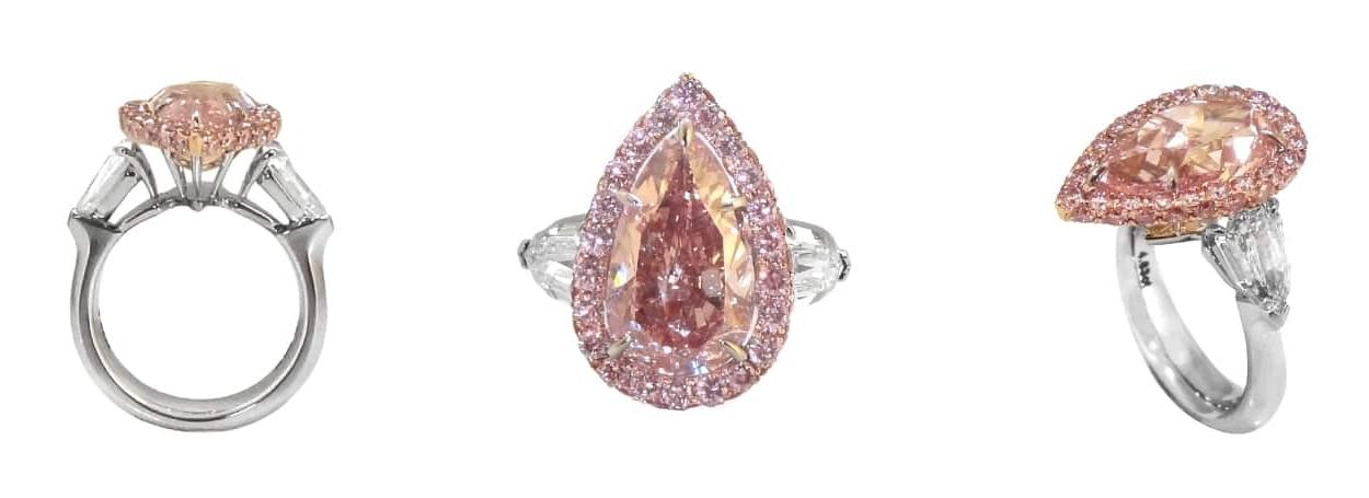 FANCY INTENSE PINK DIAMOND 3 STONE RING BESPOKE FINE JEWELLERY BY SHAHINA HATTA
