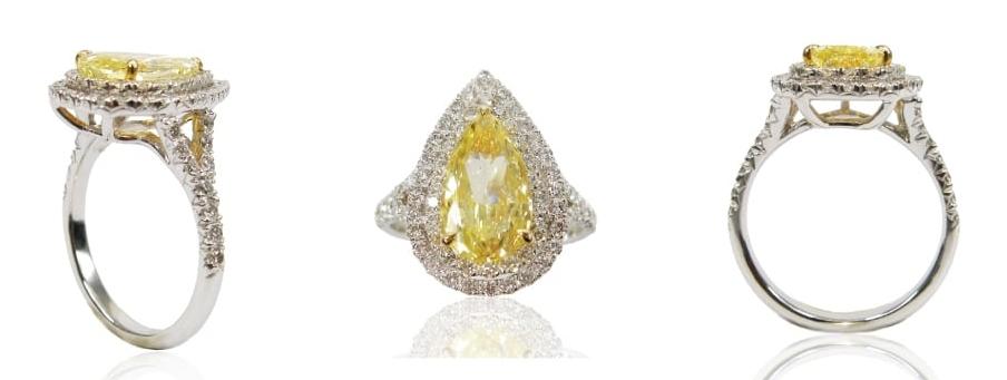 FANCY INTENSE YELLOW DIAMOND RING BESPOKE FINE JEWELLERY BY SHAHINA HATTA