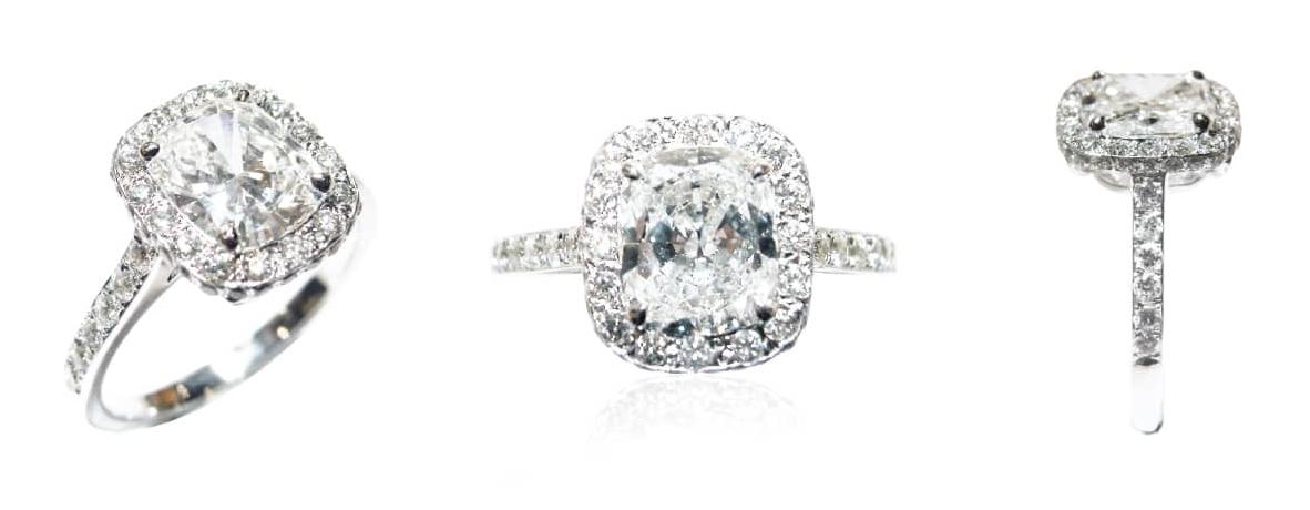 CUSHION CUT DIAMOND RING BESPOKE FINE JEWELLERY BY SHAHINA HATTA