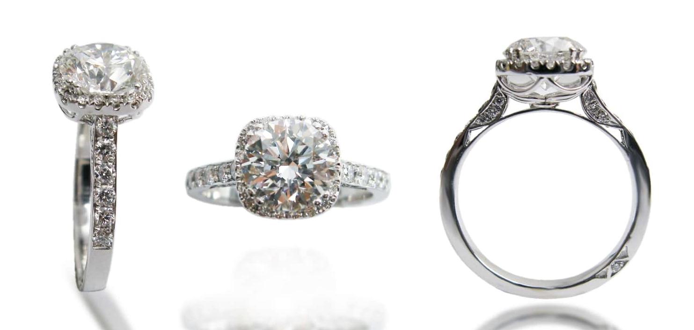 CUSHION HALO ROUND CUT DIAMOND RING BESPOKE FINE JEWELLERY BY SHAHINA HATTA