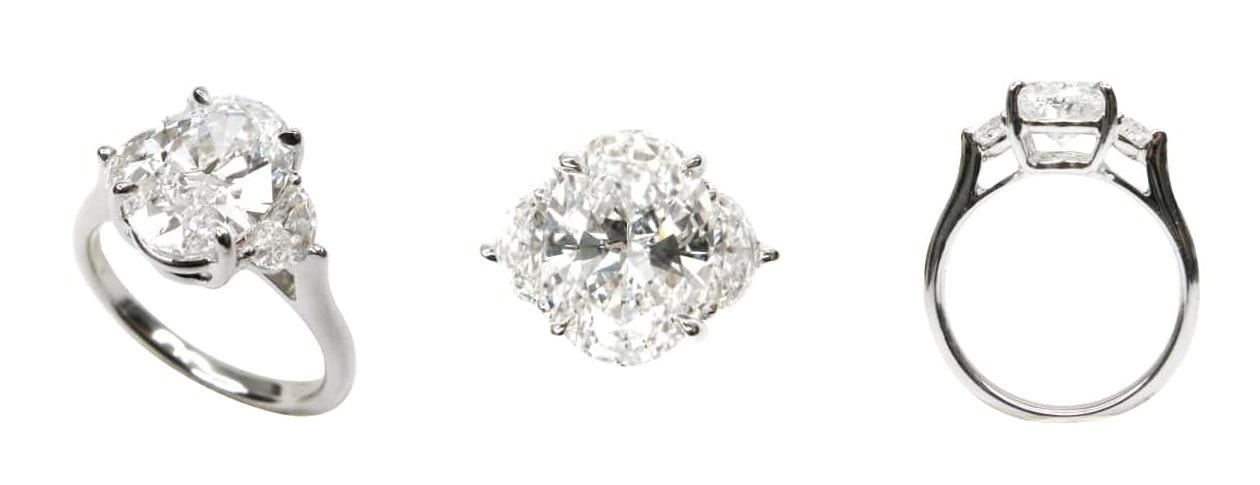 OVAL CUT 3 STONE DIAMOND RING BESPOKE FINE JEWELLERY BY SHAHINA HATTA