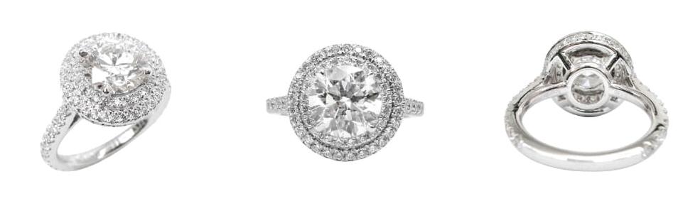 DIAMOND RING WITH DOUBLE HALO BESPOKE FINE JEWELLERY BY SHAHINA HATTA