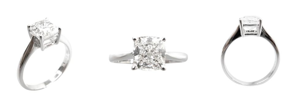 CUSHION CUT SOLITAIRE DIAMOND RING BESPOKE FINE JEWELLERY BY SHAHINA HATTA