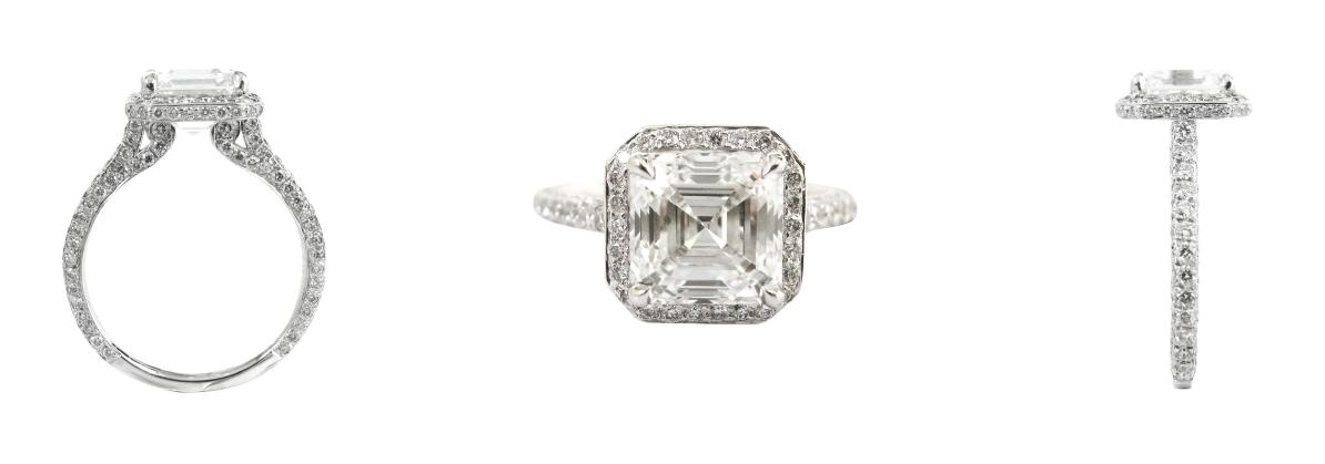 ASSCHER CUT DIAMOND FLOATING RING BESPOKE FINE JEWELLERY BY SHAHINA HATTA