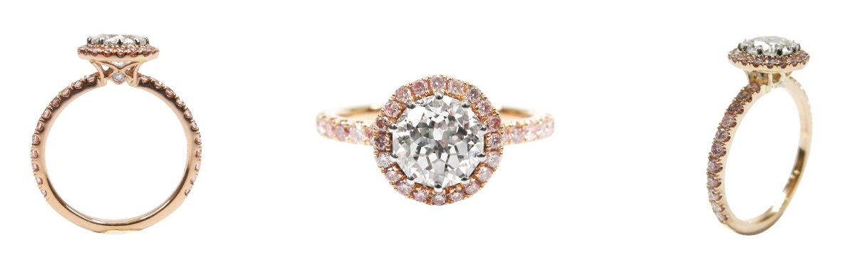 METEOR CUT PINK DIAMOND HALO BESPOKE FINE JEWELLERY BY SHAHINA HATTA