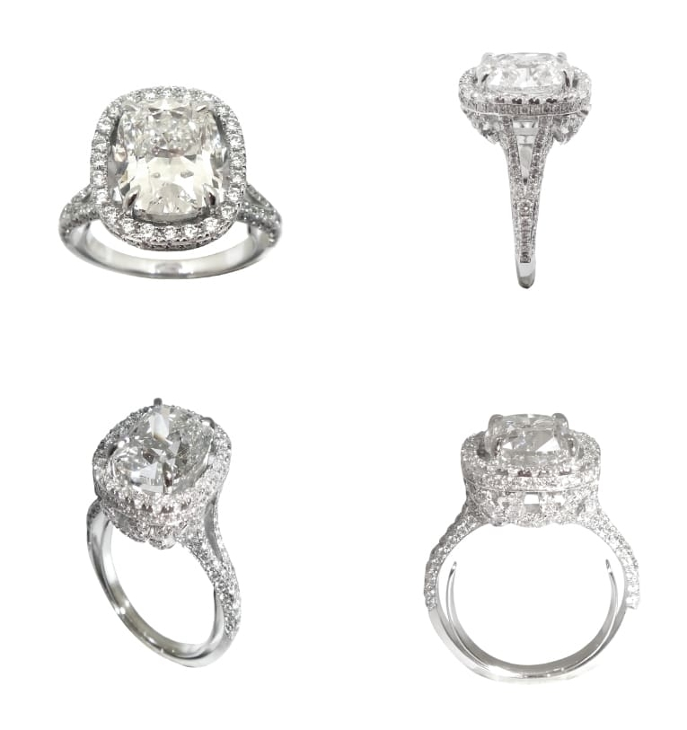 CUSHION CUT DIAMOND RING WITH HALO SPLIT SHANK BESPOKE FINE JEWELLERY BY SHAHINA HATTA