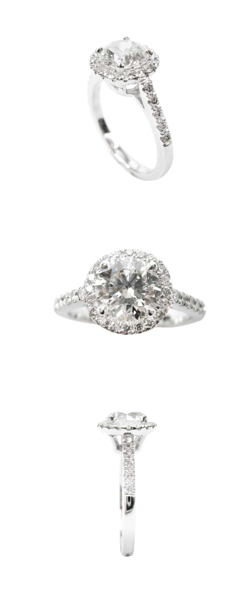 DIAMOND RING WITH HALO AND MICROSETTING BAND BESPOKE FINE JEWELLERY BY SHAHINA HATTA