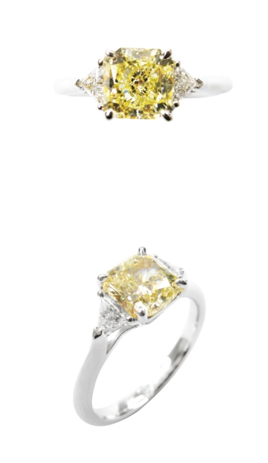 RADIANT CUT FANCY YELLOW DIAMOND THREE STONE RING BESPOKE FINE JEWELLERY BY SHAHINA HATTA