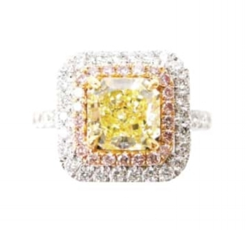 FANCY YELLOW RADIANT CUT WITH PINK AND WHITE DIAMOND HALO BESPOKE FINE JEWELLERY BY SHAHINA HATTA