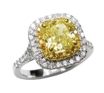 FANCY YELLOW DIAMOND RING WITH YELLOW AND WHITE DIAMOND HALO BESPOKE FINE JEWELLERY BY SHAHINA HATTA