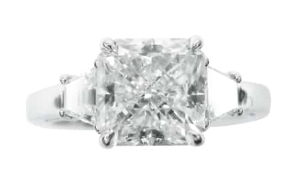 ASSCHER CUT DIAMOND THREE STONE RING BESPOKE FINE JEWELLERY BY SHAHINA HATTA