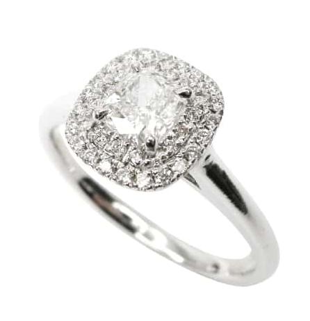 HALF CARAT CUSHION CUT DIAMOND RING WITH DOUBLE HALO BESPOKE FINE JEWELLERY BY SHAHINA HATTA