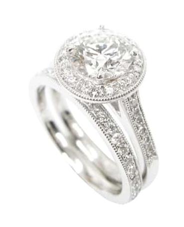 ROUND BRILLIANT DIAMOND RING WITH MICROBEADING BESPOKE FINE JEWELLERY BY SHAHINA HATTA