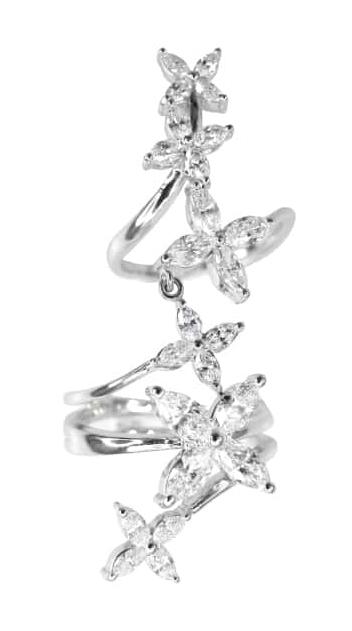 FLEURETTE MARQUISE CUT DIAMOND KNUCKLE FINGER RING BESPOKE FINE JEWELLERY BY SHAHINA HATTA