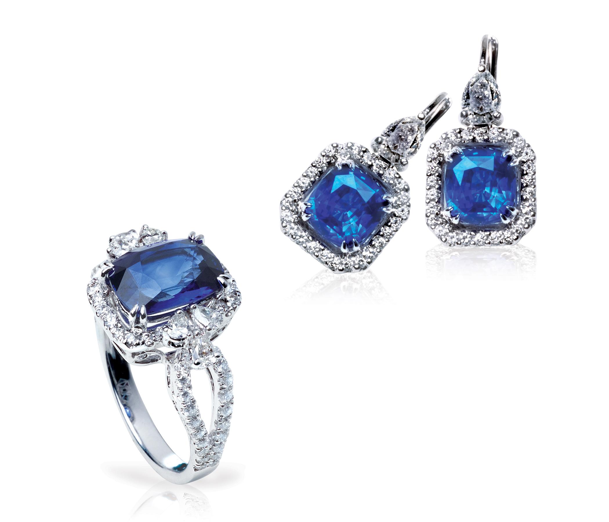 BLUE SAPPHIRE & DIAMOND JEWELLERY SET BESPOKE FINE JEWELLERY BY SHAHINA HATTA