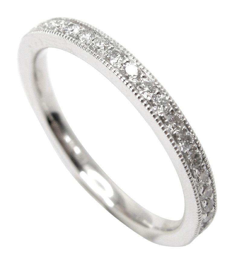 MICROBEAD EDGED DIAMOND ETERNITY RING BESPOKE FINE JEWELLERY BY SHAHINA HATTA