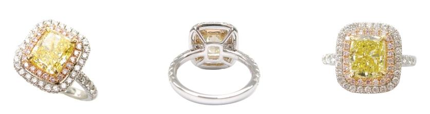 FANCY YELLOW DIAMOND WITH PINK AND WHITE DIAMOND HALO BESPOKE FINE JEWELLERY BY SHAHINA HATTA