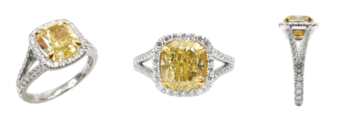 FANCY YELLOW DIAMOND CUSHION CUT SPLIT SHANK RING BESPOKE FINE JEWELLERY BY SHAHINA HATTA