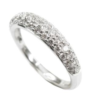 THREE ROW DOMED DIAMOND RING BESPOKE FINE JEWELLERY BY SHAHINA HATTA