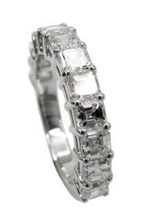 ASSCHER CUT DIAMOND ETERNITY RING BESPOKE FINE JEWELLERY BY SHAHINA HATTA