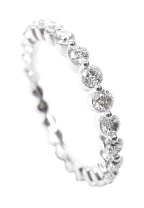 SHARED SINGLE PRONG DIAMOND ETERNITY RING BESPOKE FINE JEWELLERY BY SHAHINA HATTA