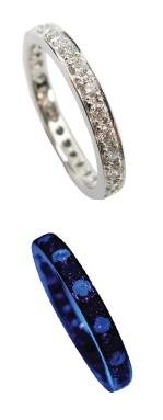 DIAMOND ETERNITY BAND WITH ALTERNATING FLUORESCENT DIAMONDS BESPOKE FINE JEWELLERY BY SHAHINA HATTA