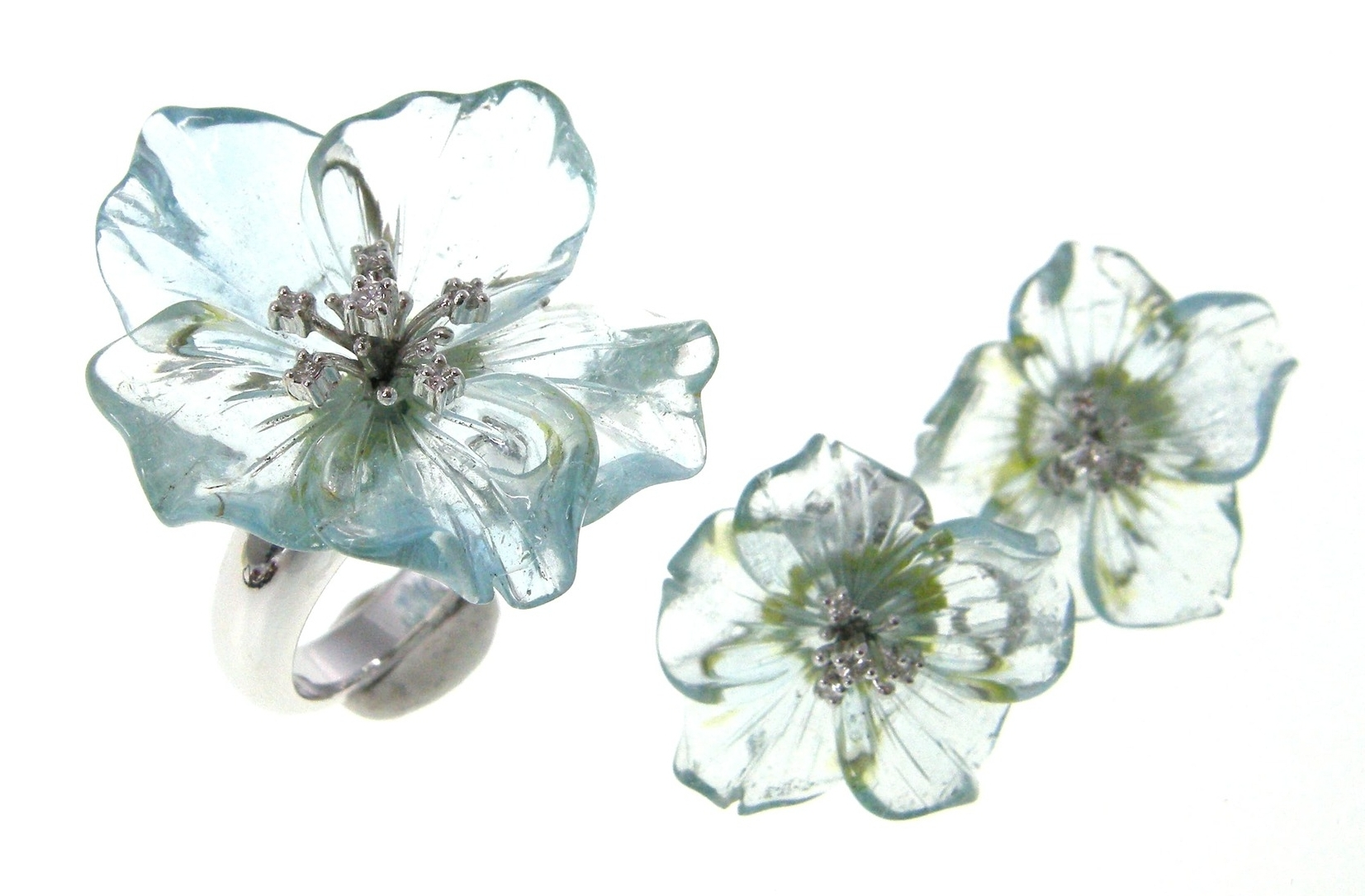 AQUAMARINE CARVED FLORAL SET BESPOKE FINE JEWELLERY BY SHAHINA HATTA