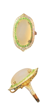 MOONSTONE TSAVORITE & DIAMOND RING BESPOKE FINE JEWELLERY BY SHAHINA HATTA