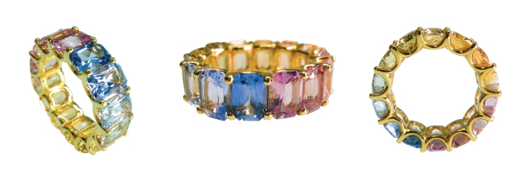 NATURAL FANCY SAPPHIRE RAINBOW RING BESPOKE FINE JEWELLERY BY SHAHINA HATTA