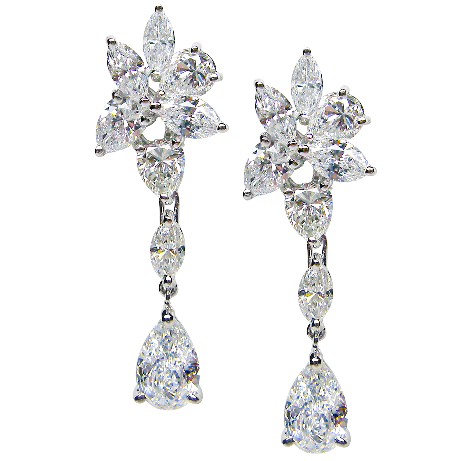 DIAMOND CLUSTER DROP WARRINGS BESPOKE FINE JEWELLERY BY SHAHINA HATTA