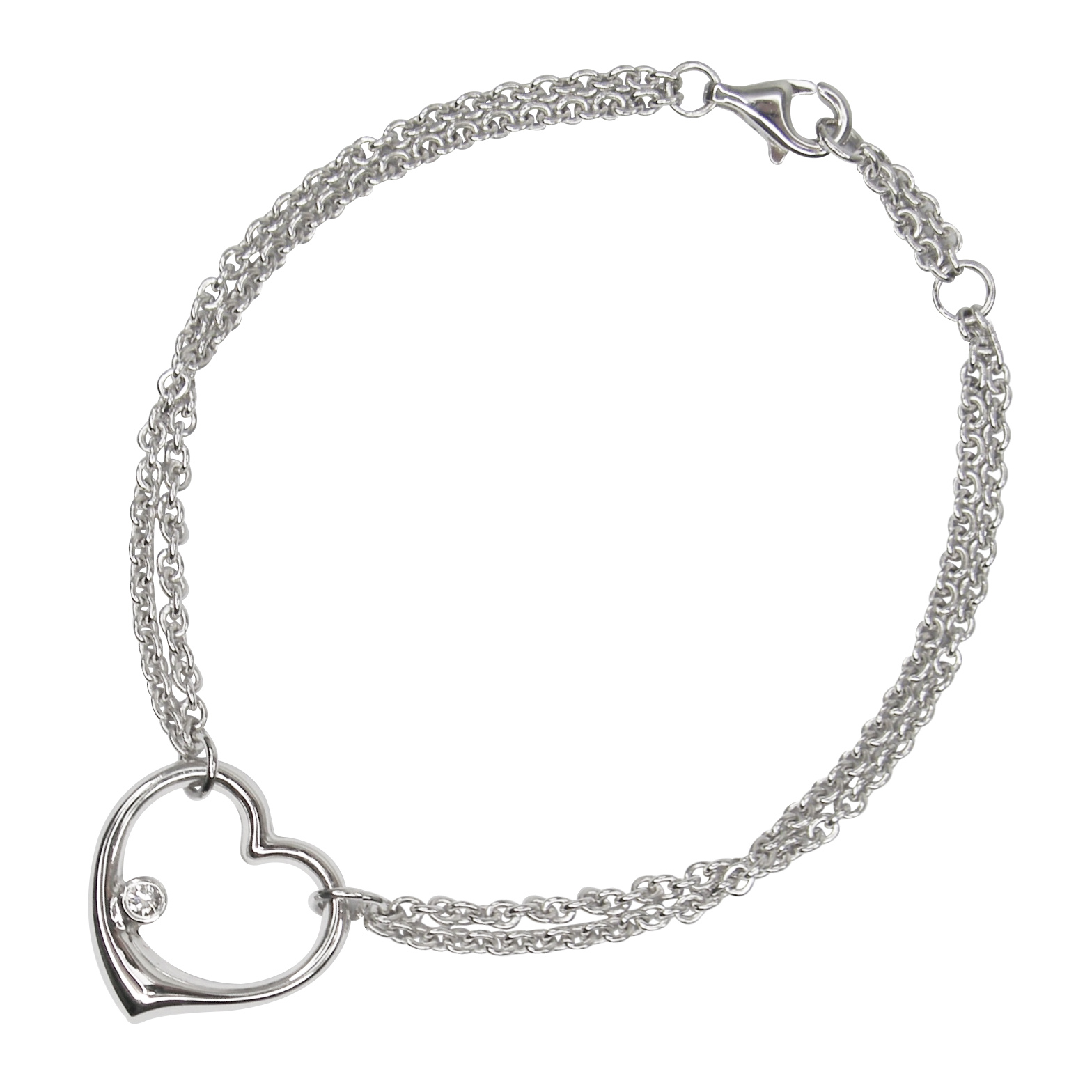 DOUBLE CHAIN OPEN HEART BRACELET CLUSTER DIAMOND PENDANT BESPOKE FINE JEWELLERY BY SHAHINA HATTA