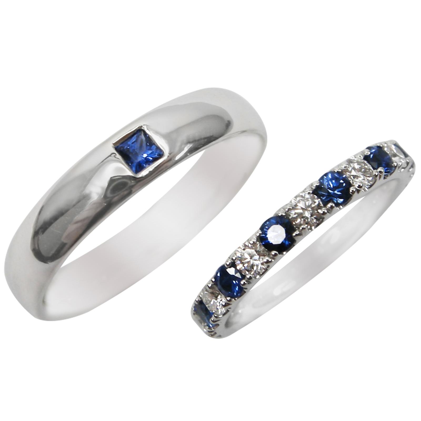 BLUE SAPPHIRE AND DIAMOND WEDDING BAND SET BESPOKE FINE JEWELLERY BY SHAHINA HATTA