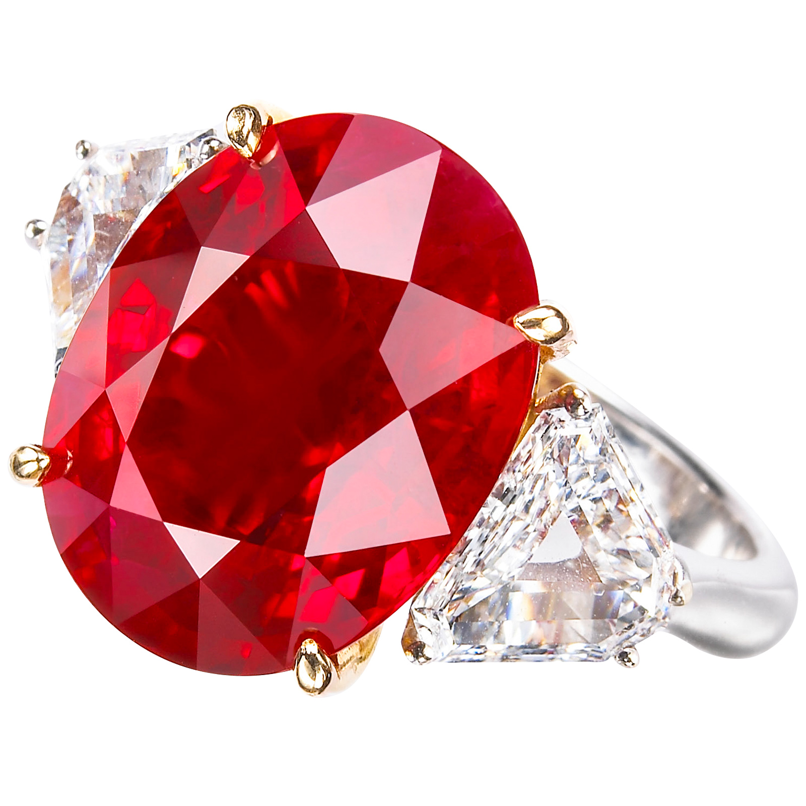 RUBY & DIAMOND THREE STONE RING BESPOKE FINE JEWELLERY BY SHAHINA HATTA