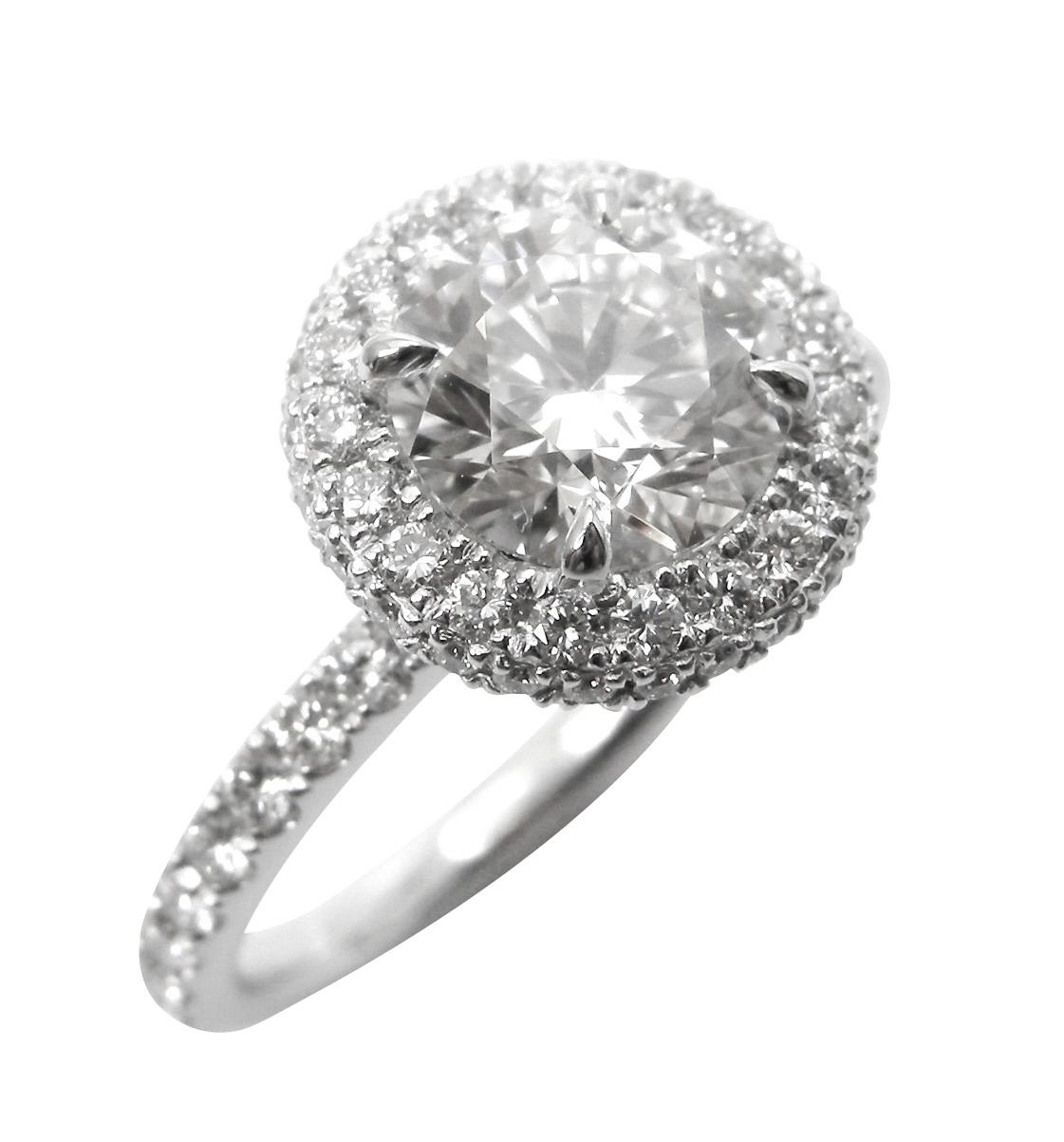 ROUND DIAMOND RING WITH DIAMOND HALO AND HIDDEN HALO BESPOKE FINE JEWELLERY BY SHAHINA HATTA