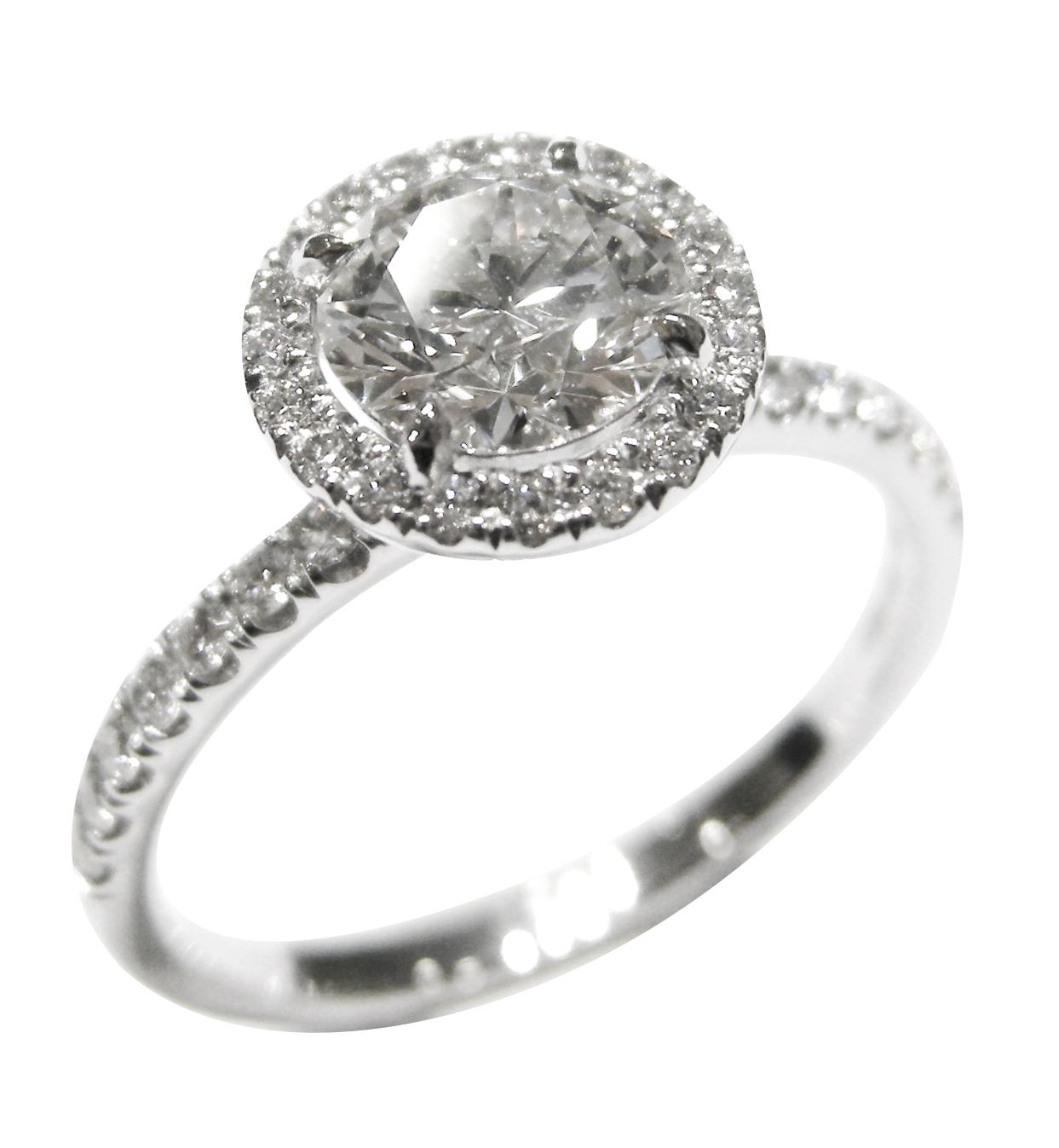 ROUND BRILLIANT DIAMOND RING WITH SINGLE HALO AND PAVE DIAMOND BAND BESPOKE FINE JEWELLERY BY SHAHINA HATTA