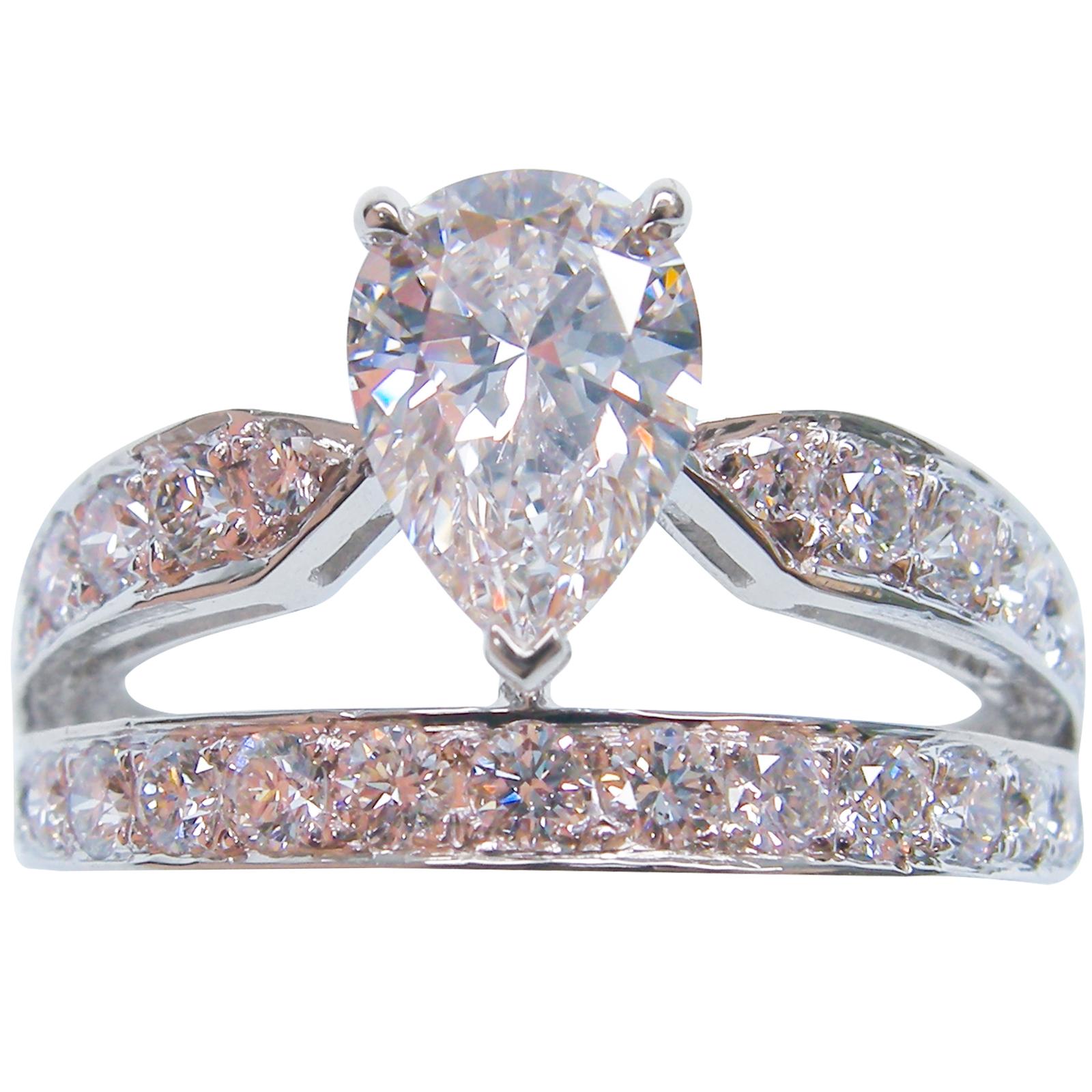 PEAR CUT DIAMOND DOUBLE BAND TIARA RING BESPOKE FINE JEWELLERY BY SHAHINA HATTA