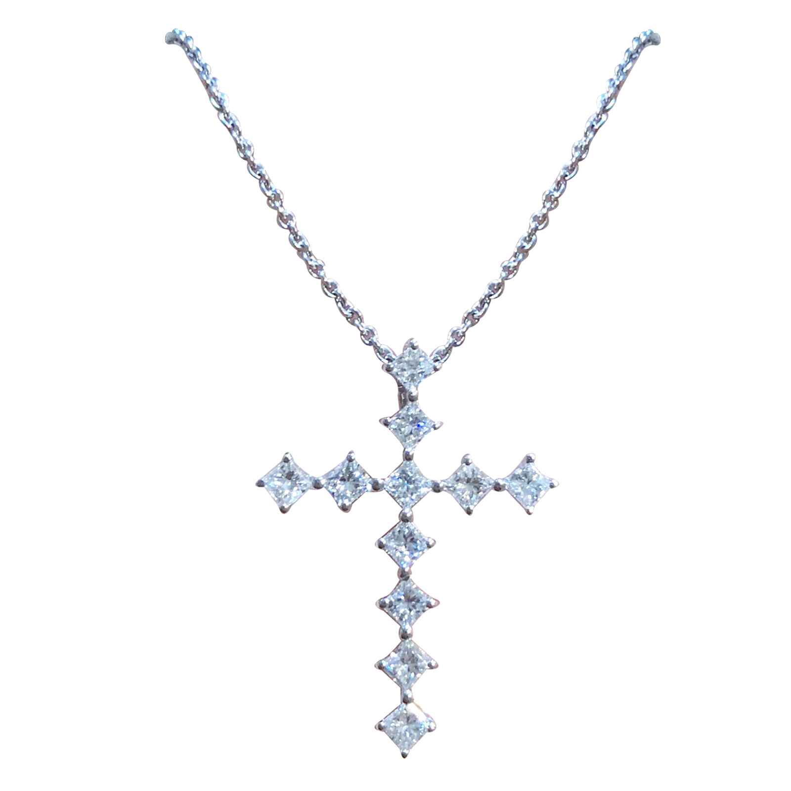 PRINCESS CUT DIAMOND CROSS NECKLACE BESPOKE FINE JEWELLERY BY SHAHINA HATTA