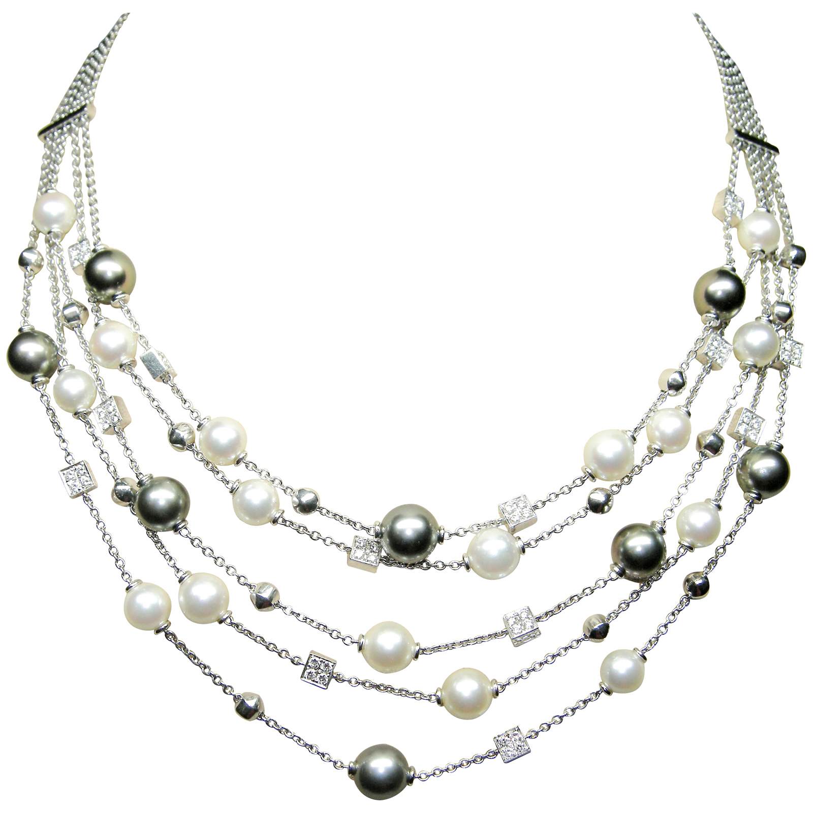 SOUTH SEA BLACK & WHITE PEARL NECKLACE BESPOKE FINE JEWELLERY BY SHAHINA HATTA