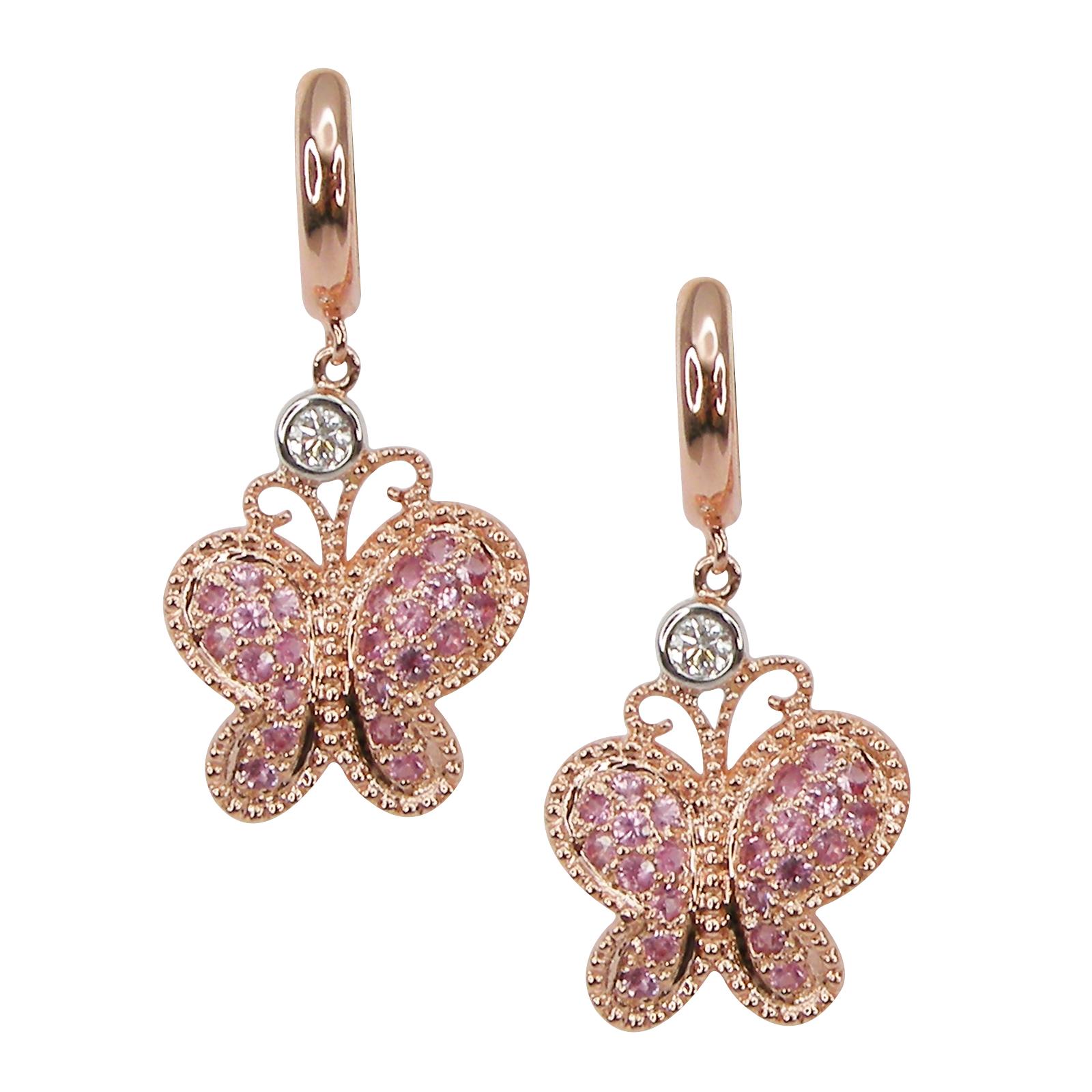 SIGNATURE PINK SAPPHIRE BUTTERFLY EARRINGS CLUSTER DIAMOND PENDANT BESPOKE FINE JEWELLERY BY SHAHINA HATTA