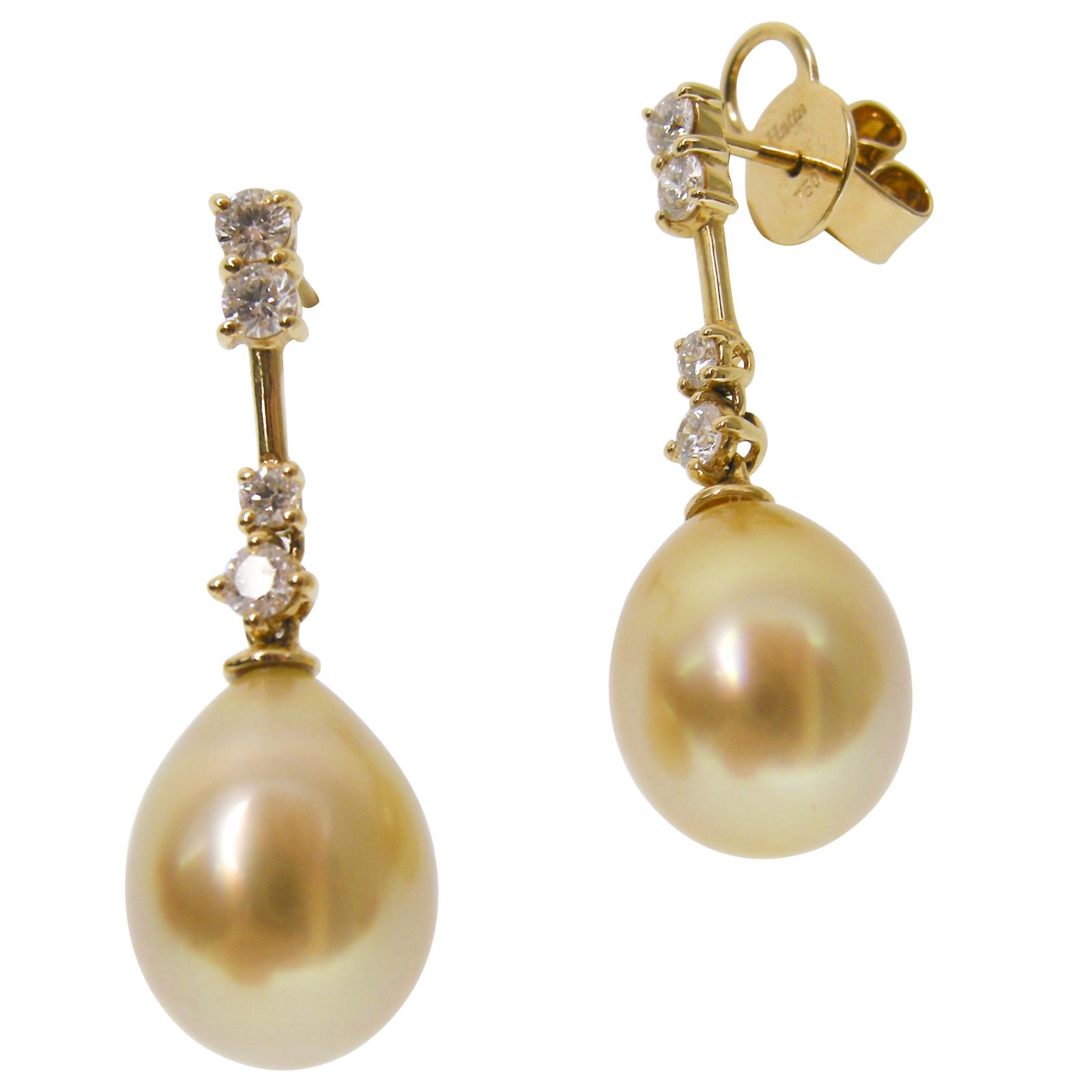 GOLDEN PEARL DROP & DIAMOND EARRINGS CLUSTER DIAMOND PENDANT BESPOKE FINE JEWELLERY BY SHAHINA HATTA