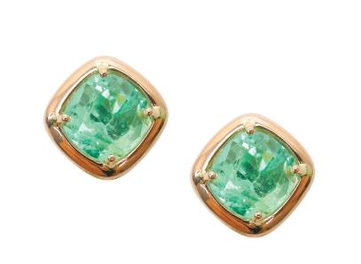 EMERALD ROSE GOLD STUD EARRINGS CLUSTER DIAMOND PENDANT BESPOKE FINE JEWELLERY BY SHAHINA HATTA