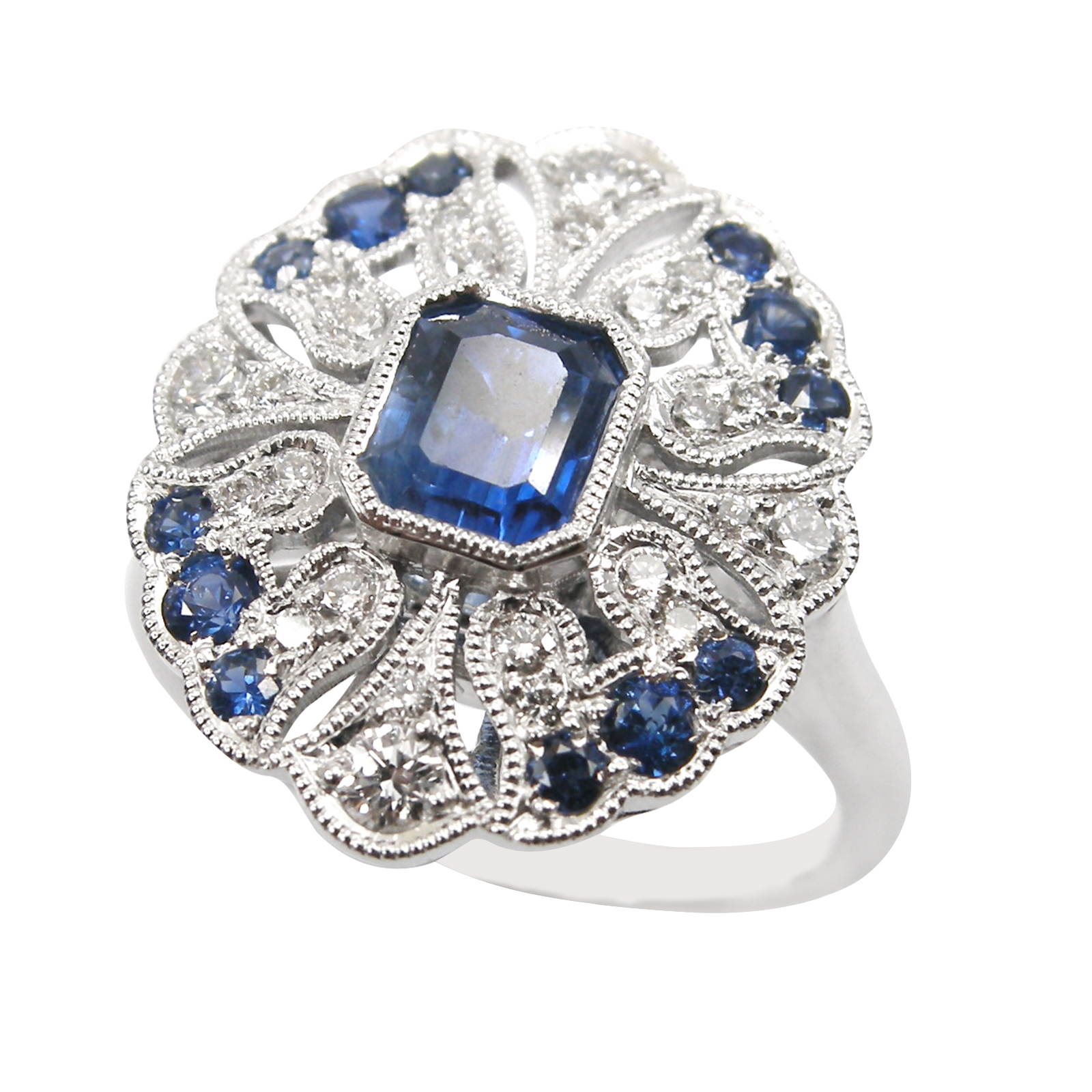 SAPPHIRE & DIAMOND RING ANTIQUE STYLE BESPOKE FINE JEWELLERY BY SHAHINA HATTA HONG KONG