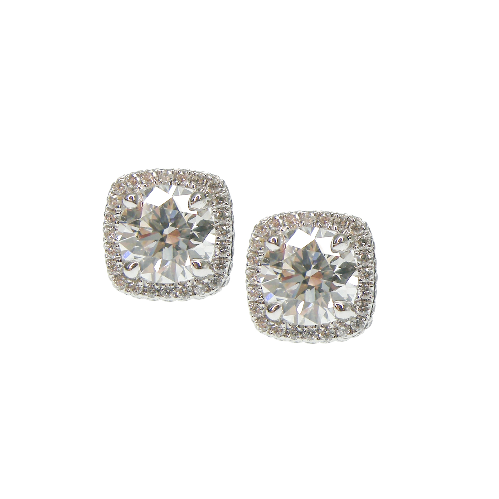 CUSHION HALO DIAMOND STUDS