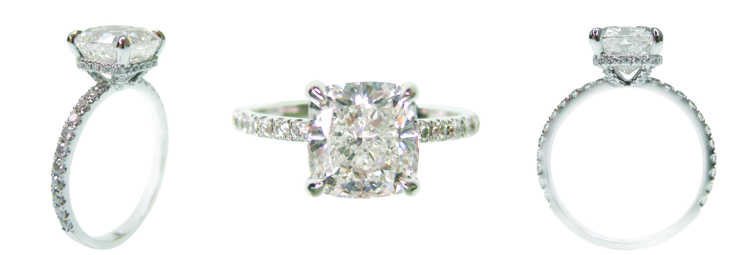 CUSHION CUT SOLITAIRE WITH MICROPAVE BAND