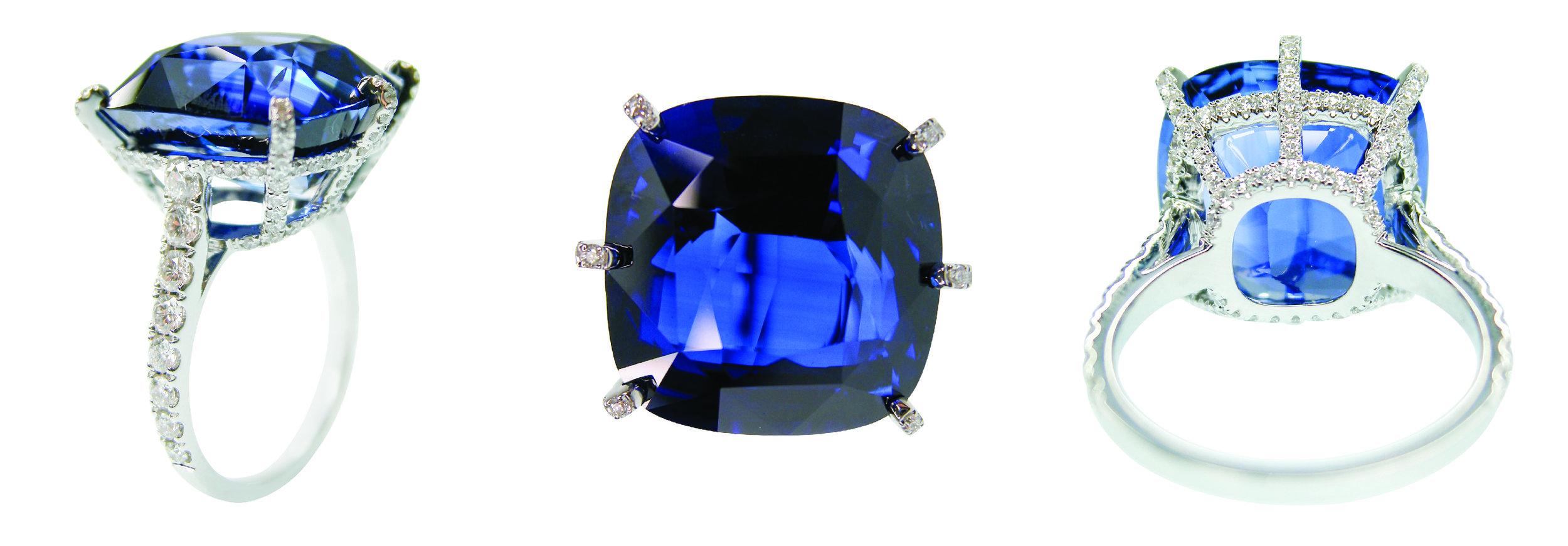 20 CT CEYLON BLUE SAPPHIRE RING