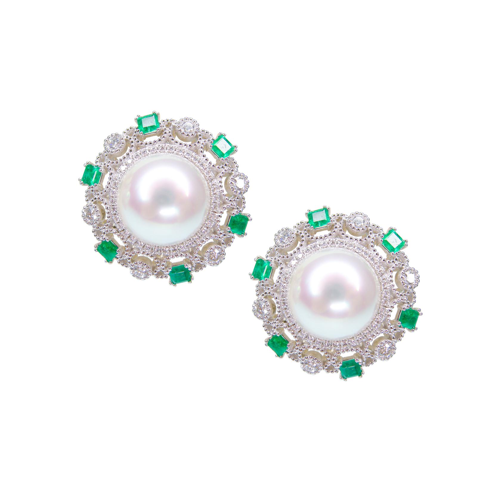 EMERALD, DIAMOND & PEARL EARRINGS BESPOKE FINE JEWELLERY BY SHAHINA HATTA