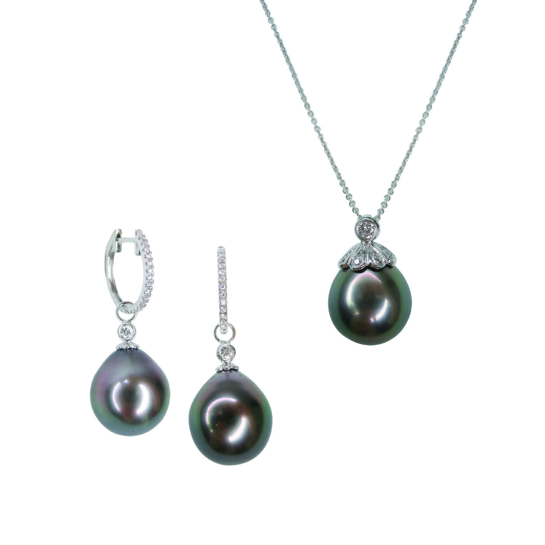 SOUTH SEA BLACK PEARL AND DIAMOND EARRINGS AND NECKLACE BESPOKE FINE JEWELLERY BY SHAHINA HATTA HONG KONG