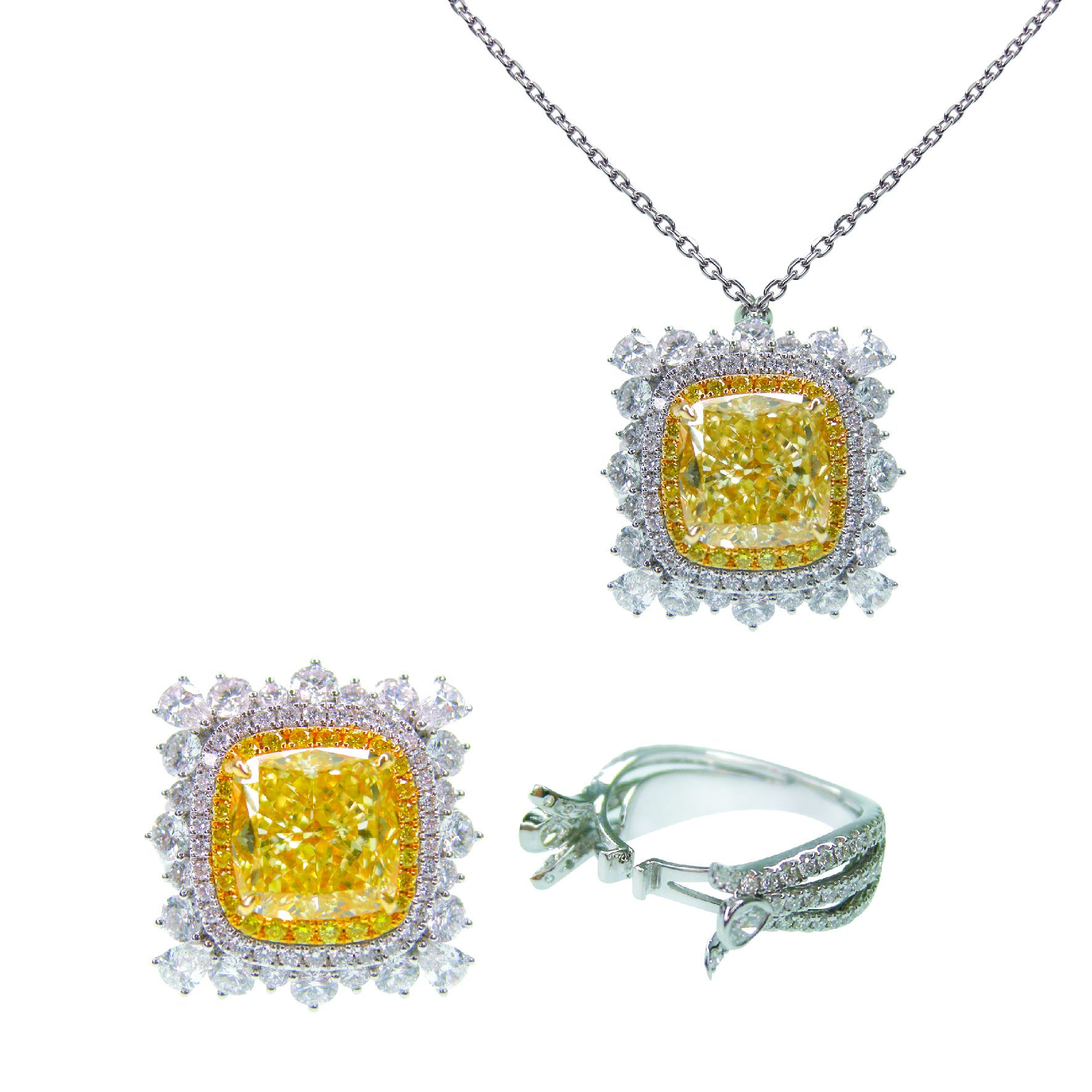 FANCY YELLOW DIAMOND RING AND NECKLACE VERSATILE TWO WAY BESPOKE FINE JEWELLERY BY SHAHINA HATTA HONG KONG